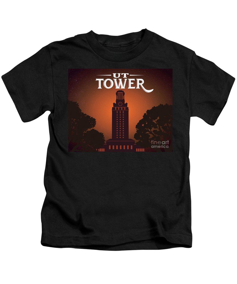 Ut Tower Kids T-Shirt featuring the photograph Ut Tower by Weird Austin Photos