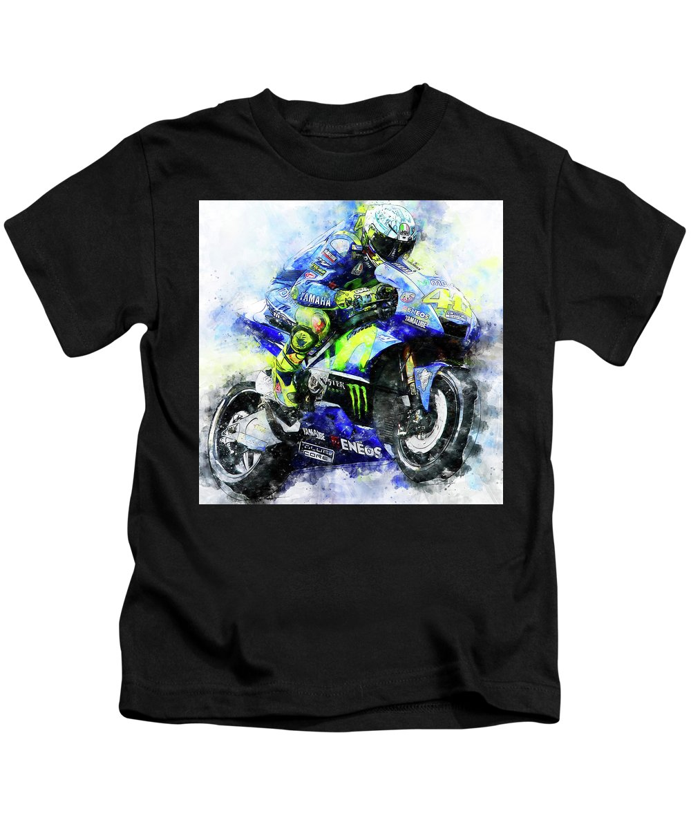 Valentino Rossi Kids T-Shirt featuring the painting Valentino Rossi - 18 by Andrea Mazzocchetti