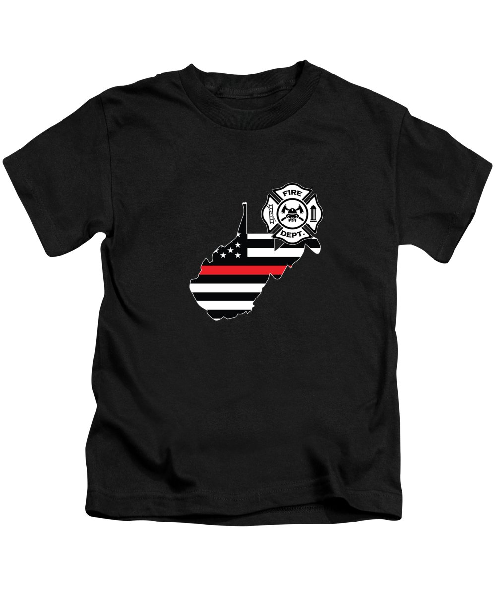 Firefighter-appreciation Kids T-Shirt featuring the digital art West Virginia Firefighter Shield Thin Red Line Flag by Jean-Baptiste Perie