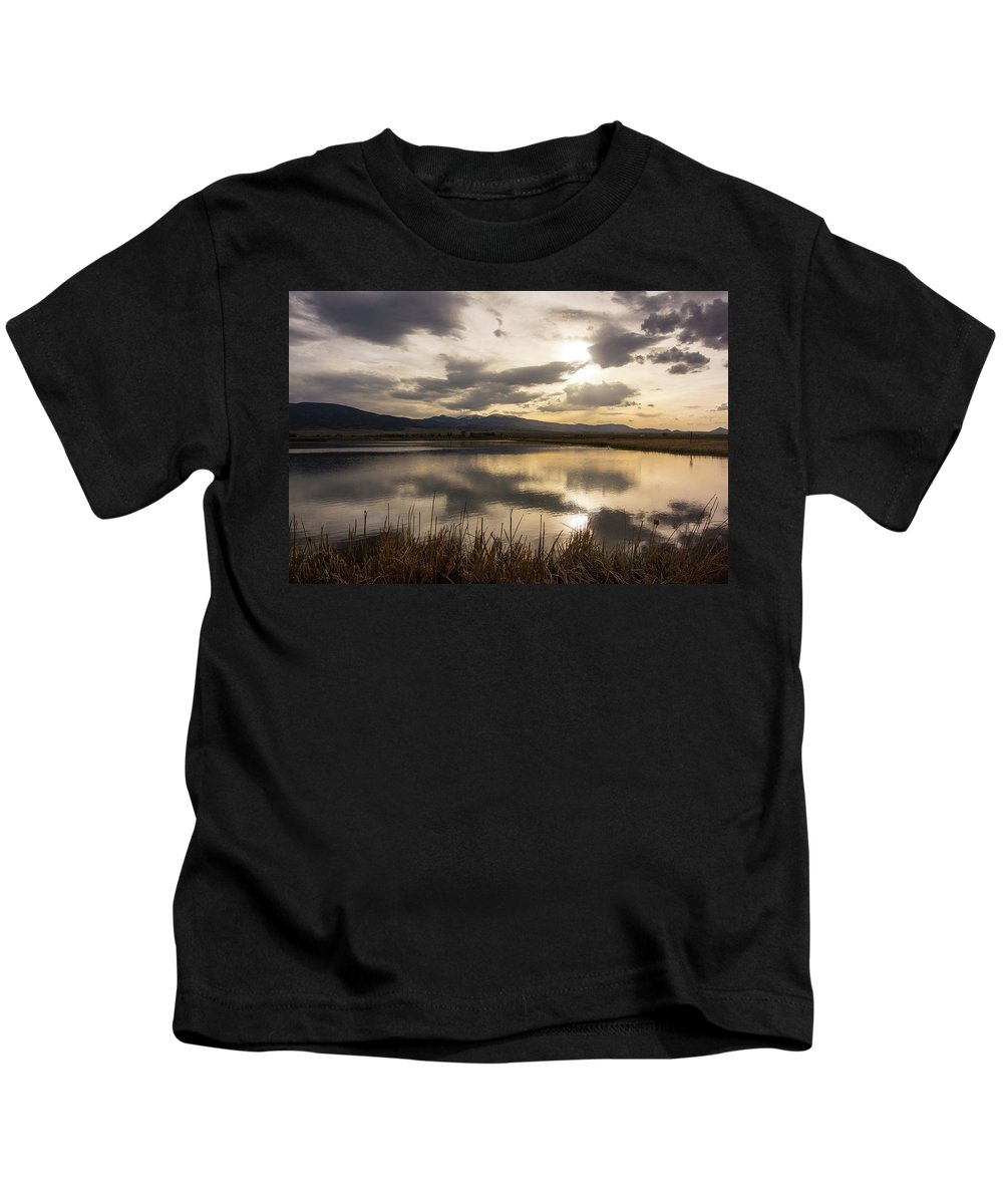 Sunset Kids T-Shirt featuring the photograph Wetlands At Dusk by Jason Bohl
