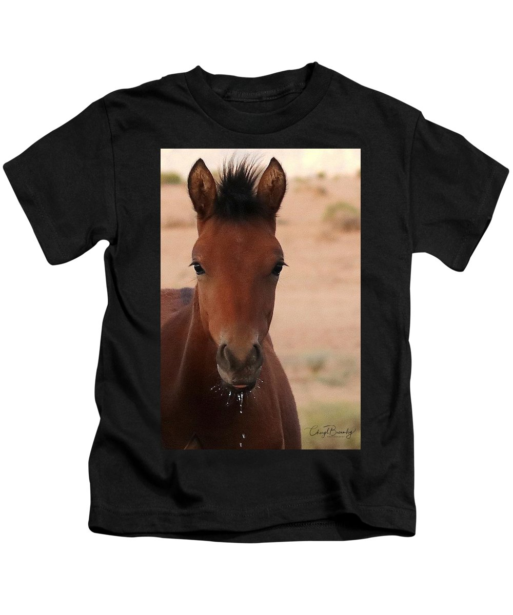 Wild Horse Kids T-Shirt featuring the pyrography Wild Horse Luke by Cheryl Broumley