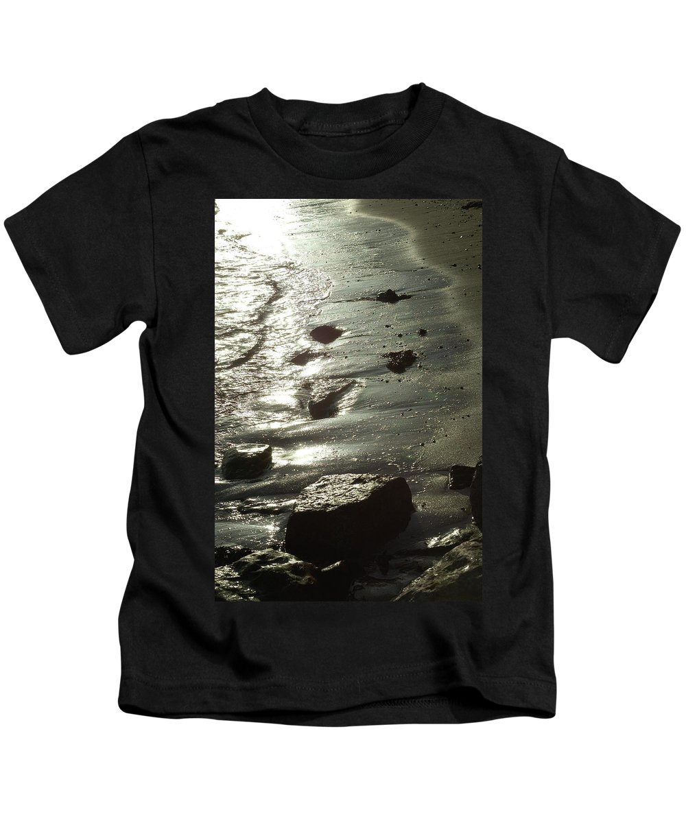 Winter Kids T-Shirt featuring the photograph Winter Sun On The Tide by Victor Lord Denovan