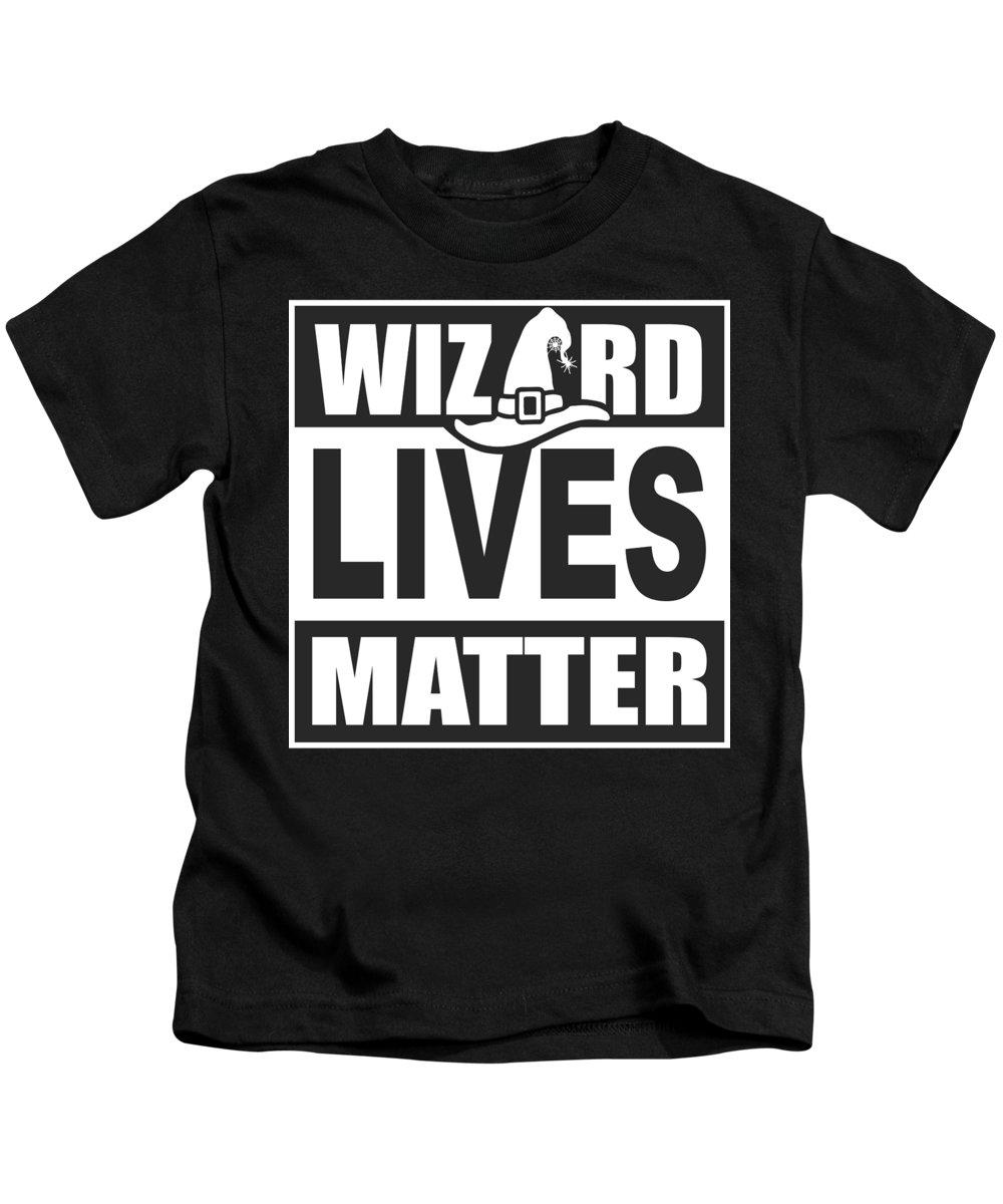 Halloween Kids T-Shirt featuring the digital art Wizard Lives Matter Retro Halloween Sorcerer Dark by Nikita Goel