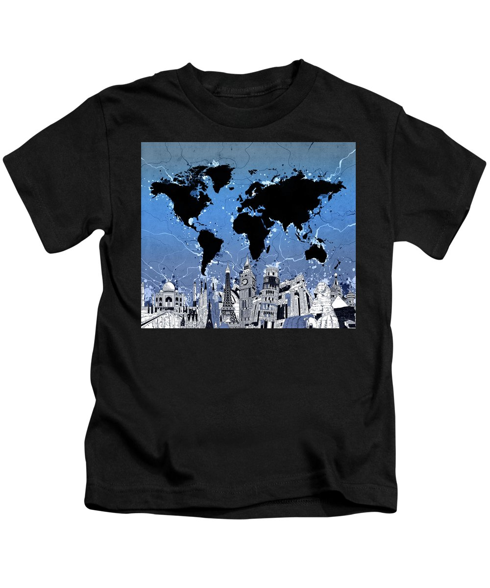 Map Kids T-Shirt featuring the digital art World Map Landmarks 10 by Bekim M