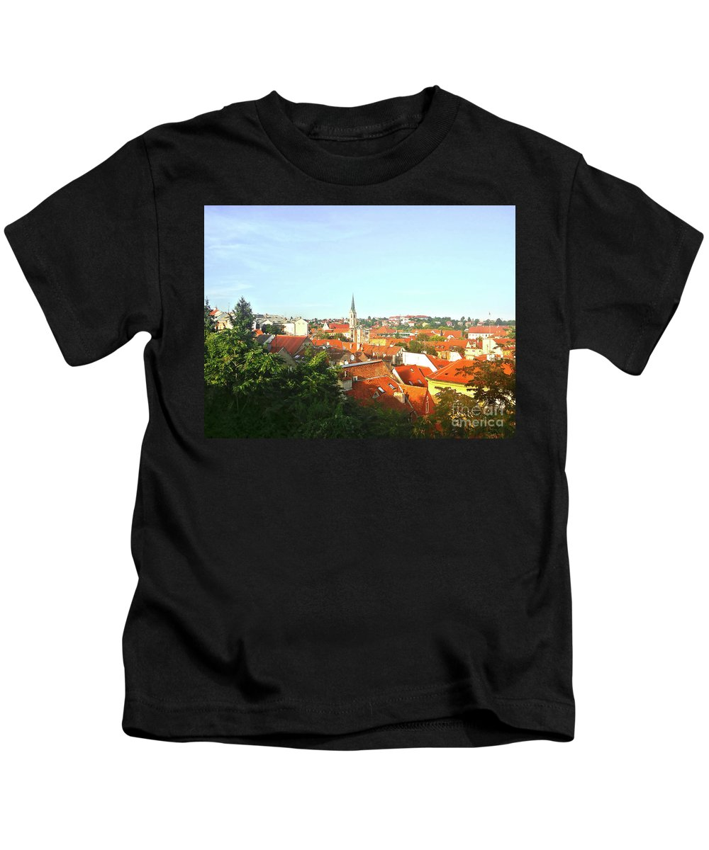 Zagreb Kids T-Shirt featuring the photograph Zagreb Roofs Ne by Jasna Dragun