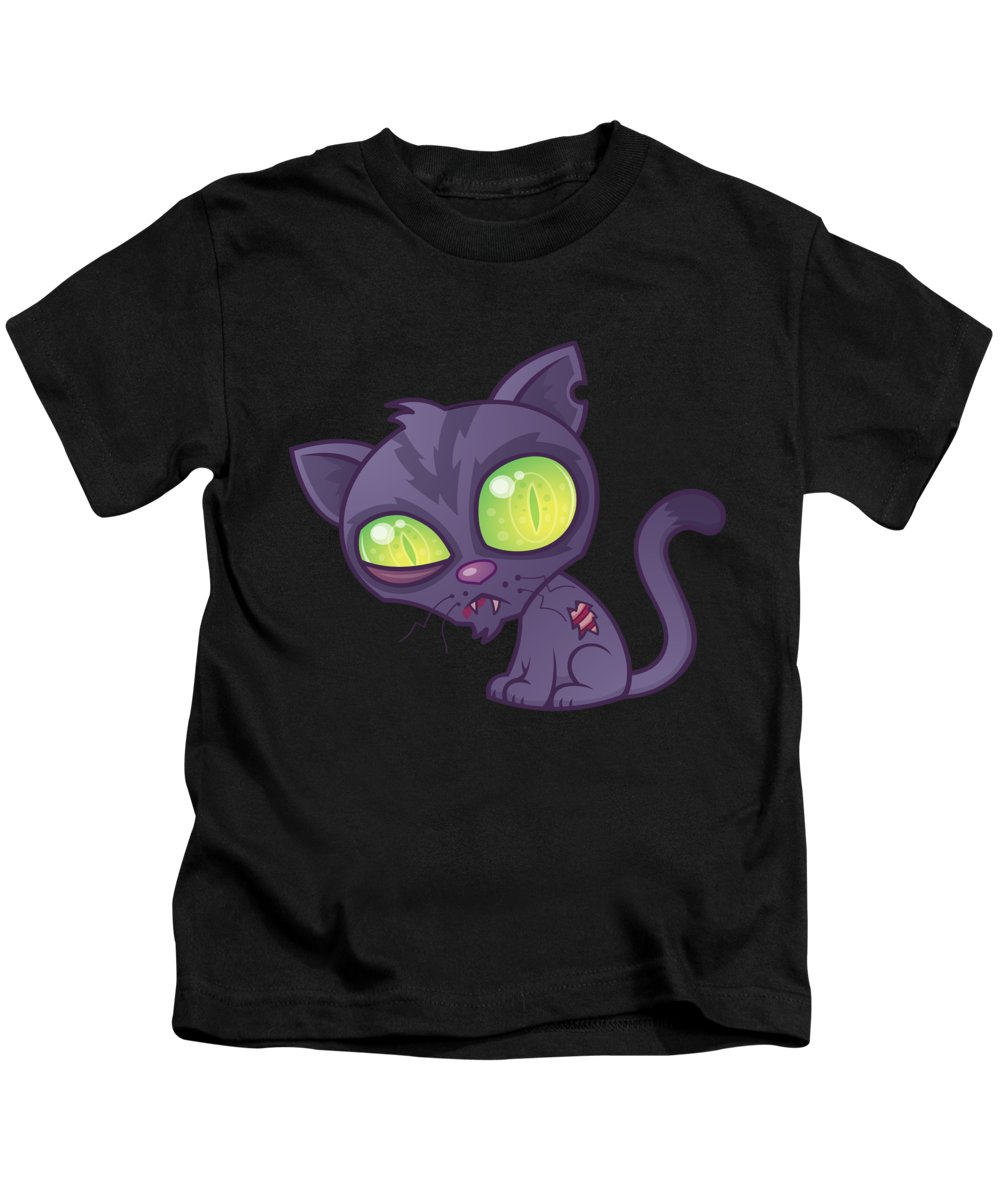Cat Kids T-Shirt featuring the digital art Zombie Kitty by John Schwegel