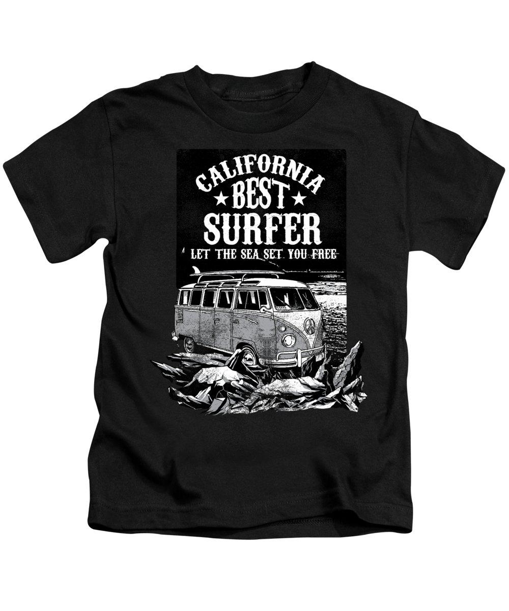Surf Board Gift Kids T-Shirt featuring the digital art California Best Surfer by Jacob Zelazny