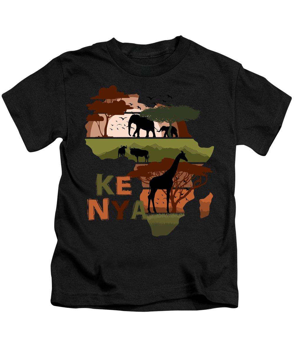 Africa Kids T-Shirt featuring the digital art Africa Sunset Kenya by Filip Schpindel
