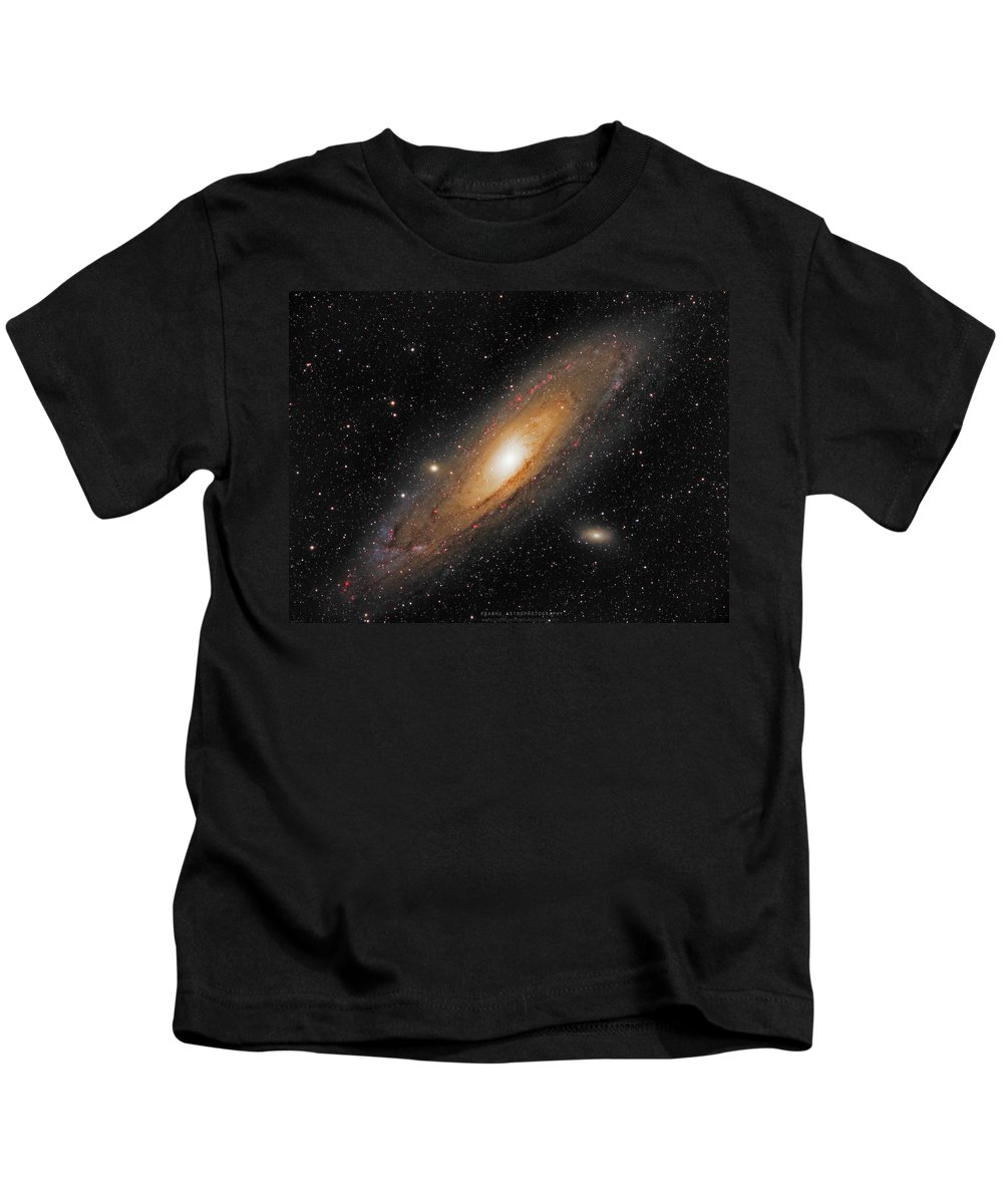 Andromeda Galaxy Kids T-Shirt featuring the photograph Andromeda Galaxy by Prabhu Astrophotography