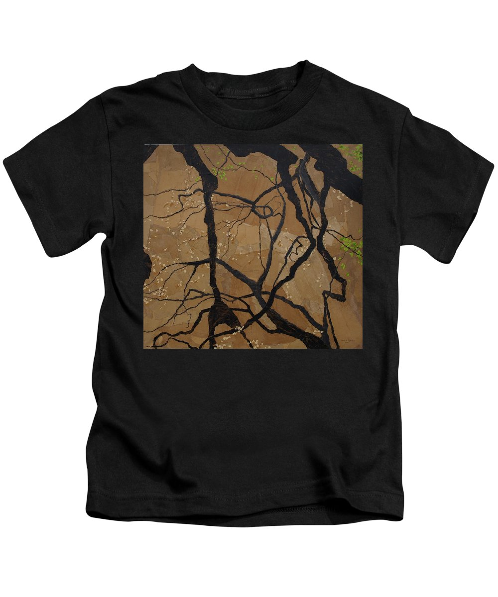 Abstract Tree Branches Kids T-Shirt featuring the painting Arboretum Dancers by Leah Tomaino