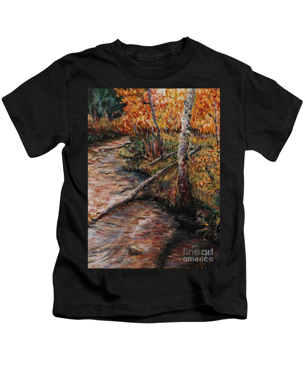 Landscape Kids T-Shirt featuring the painting Autumn Reflections by Nadine Rippelmeyer