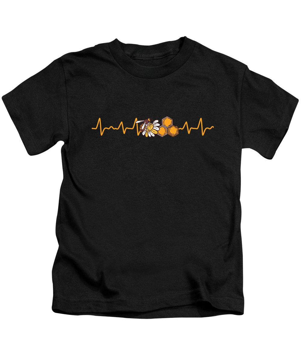 Bee Kids T-Shirt featuring the digital art Bee Pulse Rate Beekeeper Save The Bees Gift by Thomas Larch