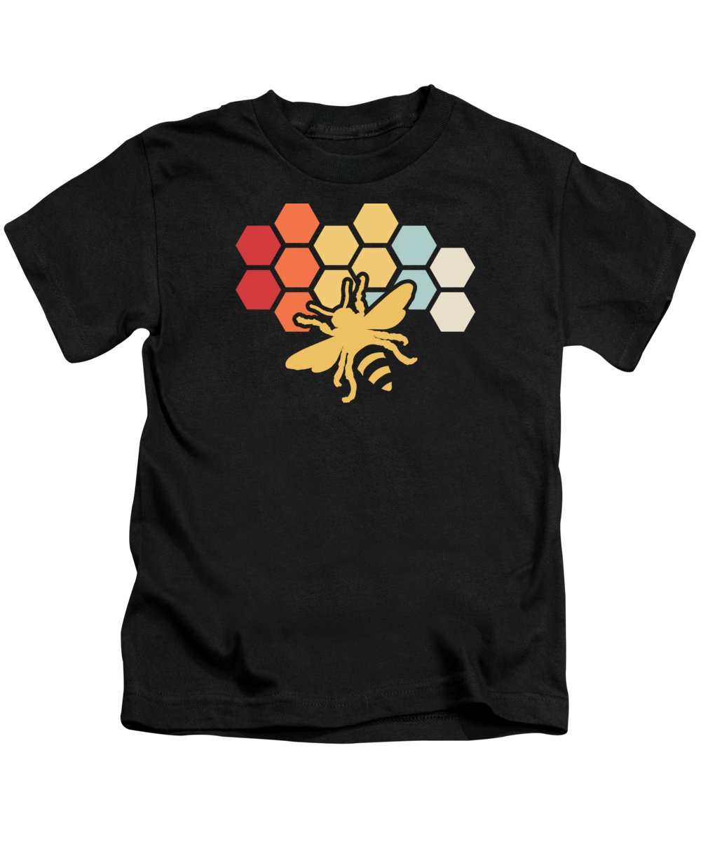 Beekeeping Kids T-Shirt featuring the digital art Bee Retro Vintage Beekeeper Birthday Gift by Haselshirt