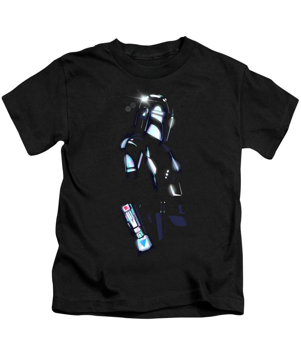 Show Kids T-Shirt featuring the drawing Beskar Armor by Ludwig Van Bacon