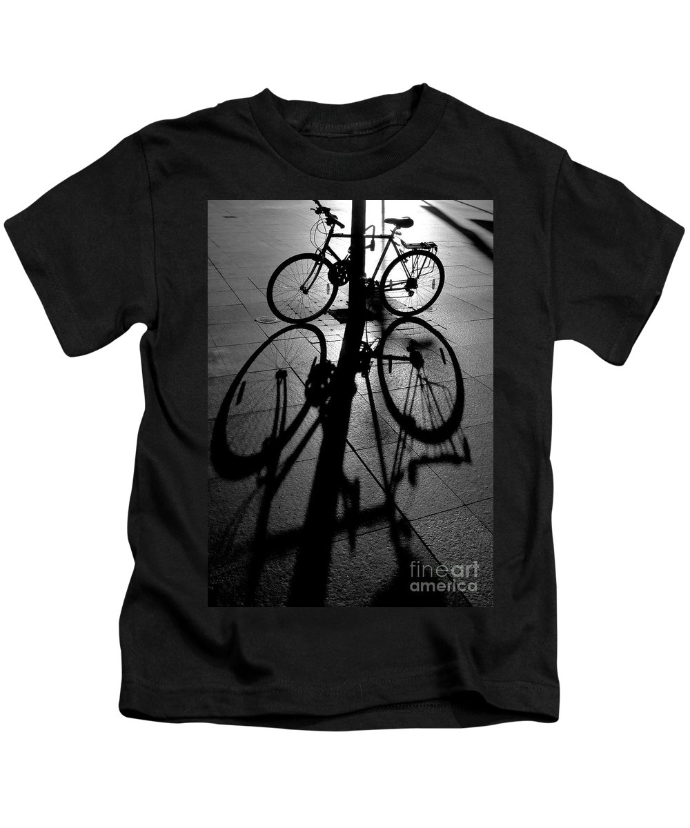 Bicycle Kids T-Shirt featuring the photograph Bicycle shadow by Sheila Smart Fine Art Photography