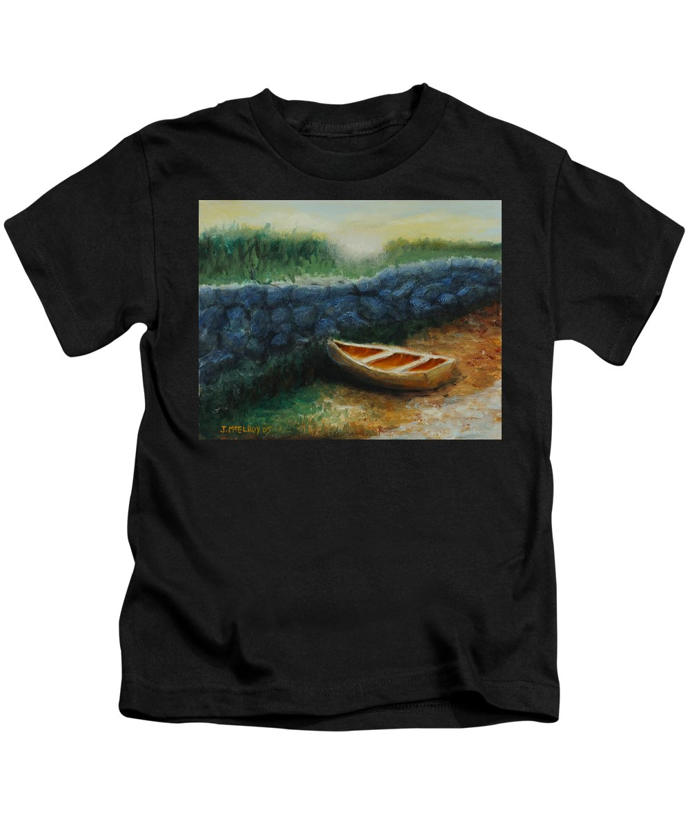 Row Boat Kids T-Shirt featuring the painting Boat by the Breakwall by Jerry McElroy