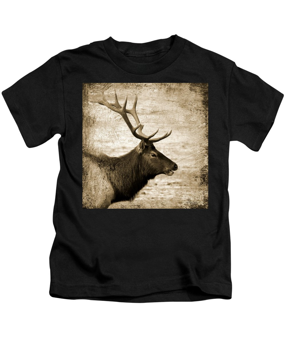 Elk Kids T-Shirt featuring the photograph Bull Elk Profile Square Sepia by Carol Groenen