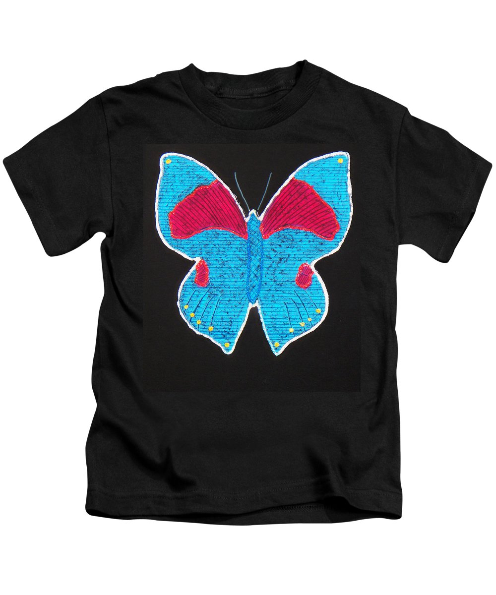 Drawing Kids T-Shirt featuring the mixed media Butterfly by Sergey Bezhinets