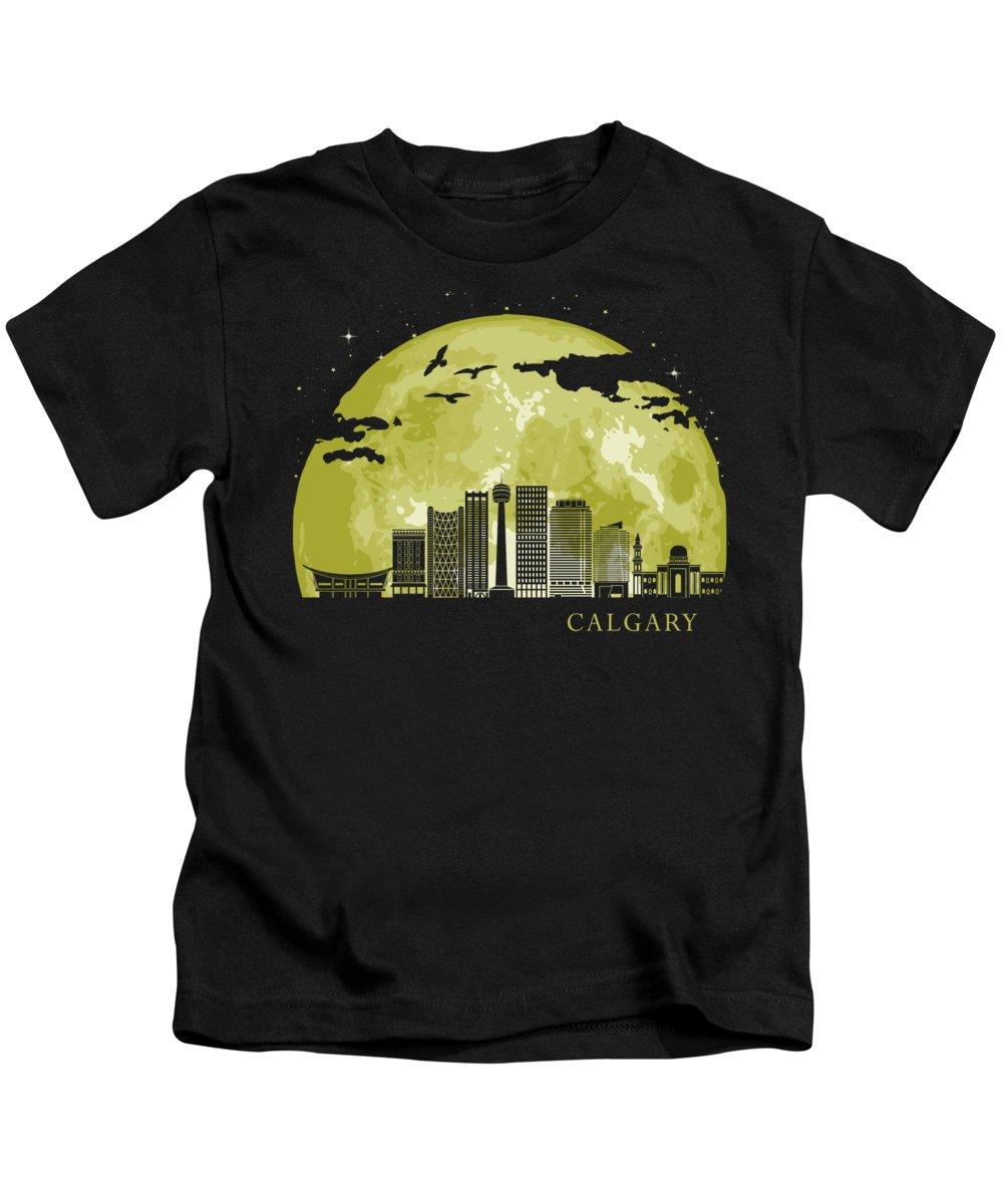 North America Kids T-Shirt featuring the digital art CALGARY copy by Filip Schpindel