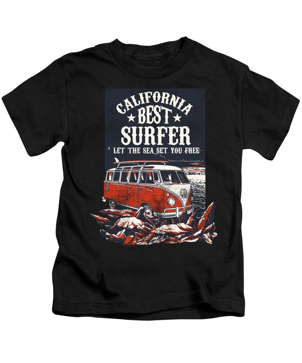 Surf Gift Kids T-Shirt featuring the digital art California Best Surfer by Jacob Zelazny