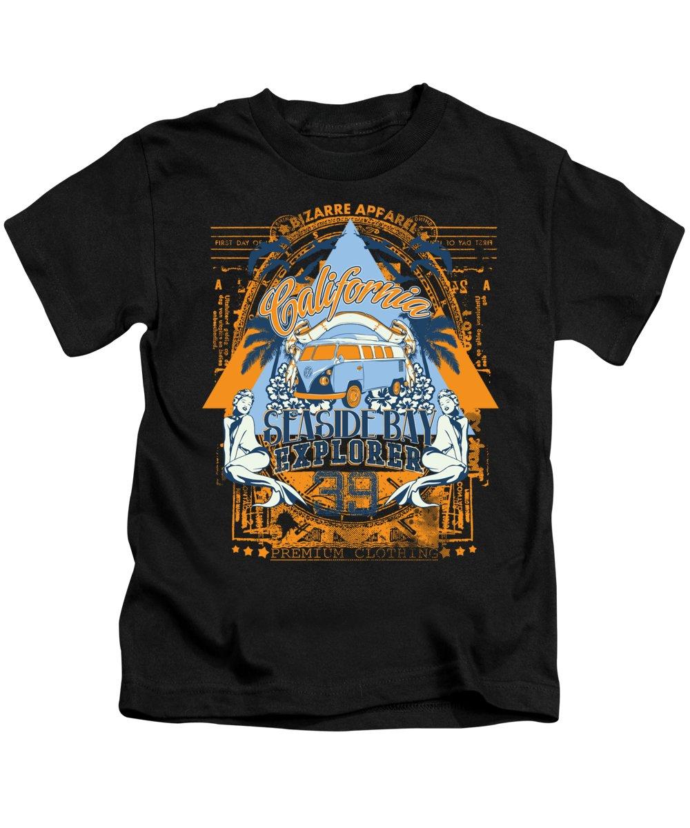 Beach Kids T-Shirt featuring the digital art California Seaside Bay Explorer by Jacob Zelazny