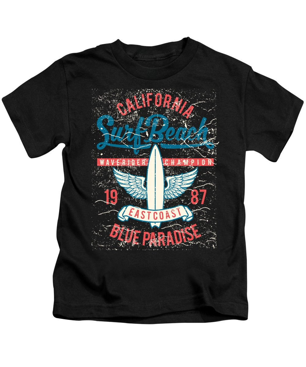 Surfing Gifts For Boys Kids T-Shirt featuring the digital art California Surf Beach Wave Rider Champ by Jacob Zelazny