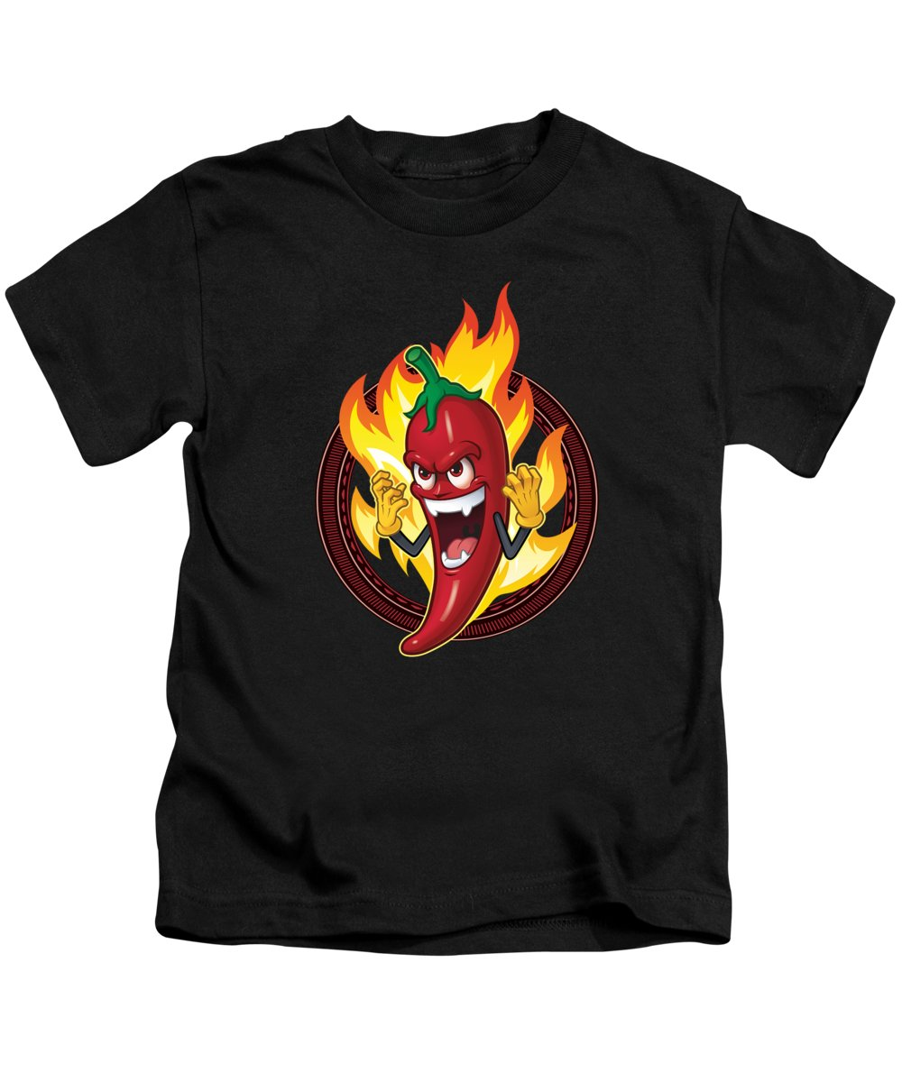Cook Kids T-Shirt featuring the digital art Chef Cook Culinary Arts Grill Master Hot Burning Chili Pepper Spice Spicy by Thomas Larch