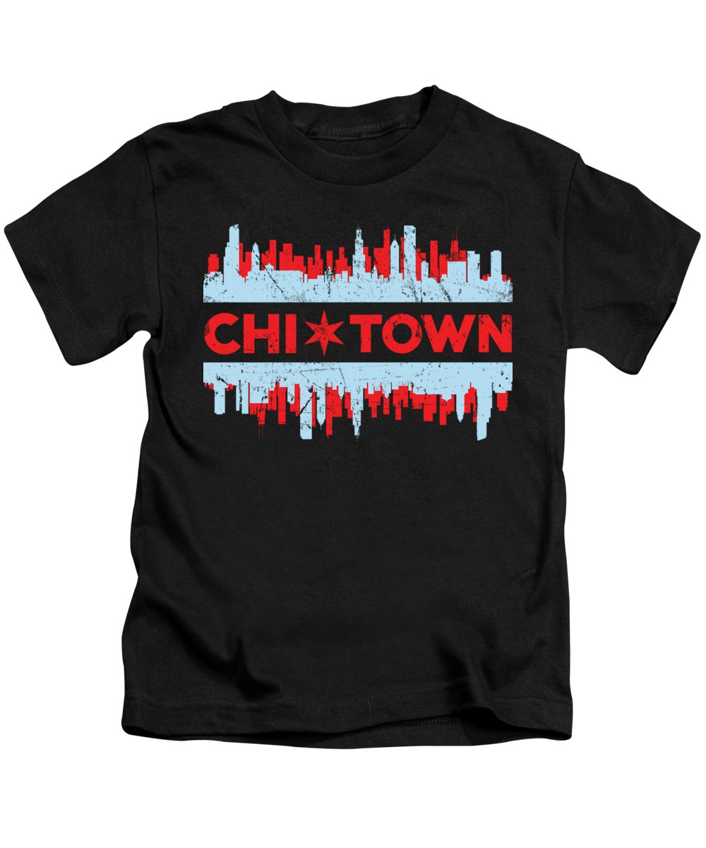 Chicago Illinois Kids T-Shirt featuring the digital art Chicago Flag Chi Town Skyline Chicagoan Apparel Gift by Michael S