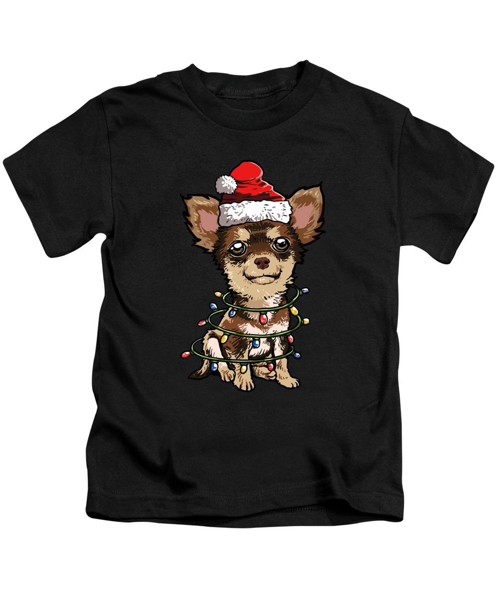 Chihuahua Kids T-Shirt featuring the digital art Chihuahua Santa Christmas Tree Lights by J M