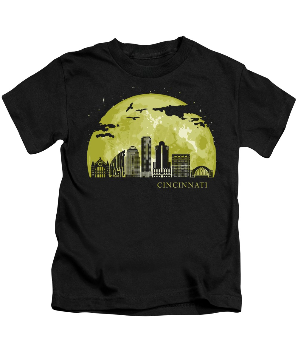 Ohio Kids T-Shirt featuring the digital art CINCINNATI Moon Light Night Stars Skyline by Filip Schpindel