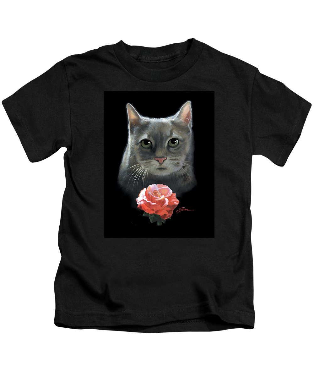 #cat Kids T-Shirt featuring the painting Cleo And The Rose by Harold Shull