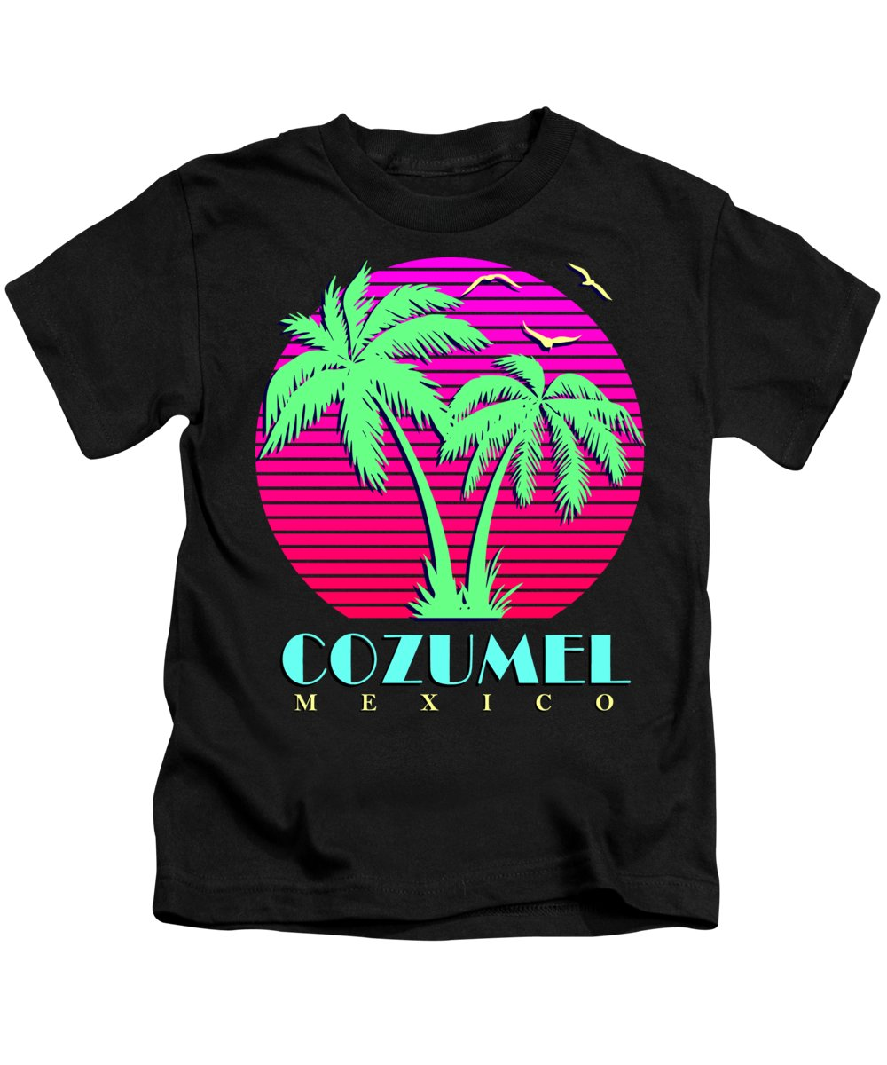 Classic Kids T-Shirt featuring the digital art Cozumel Mexico Retro Palm Trees Sunset by Filip Schpindel