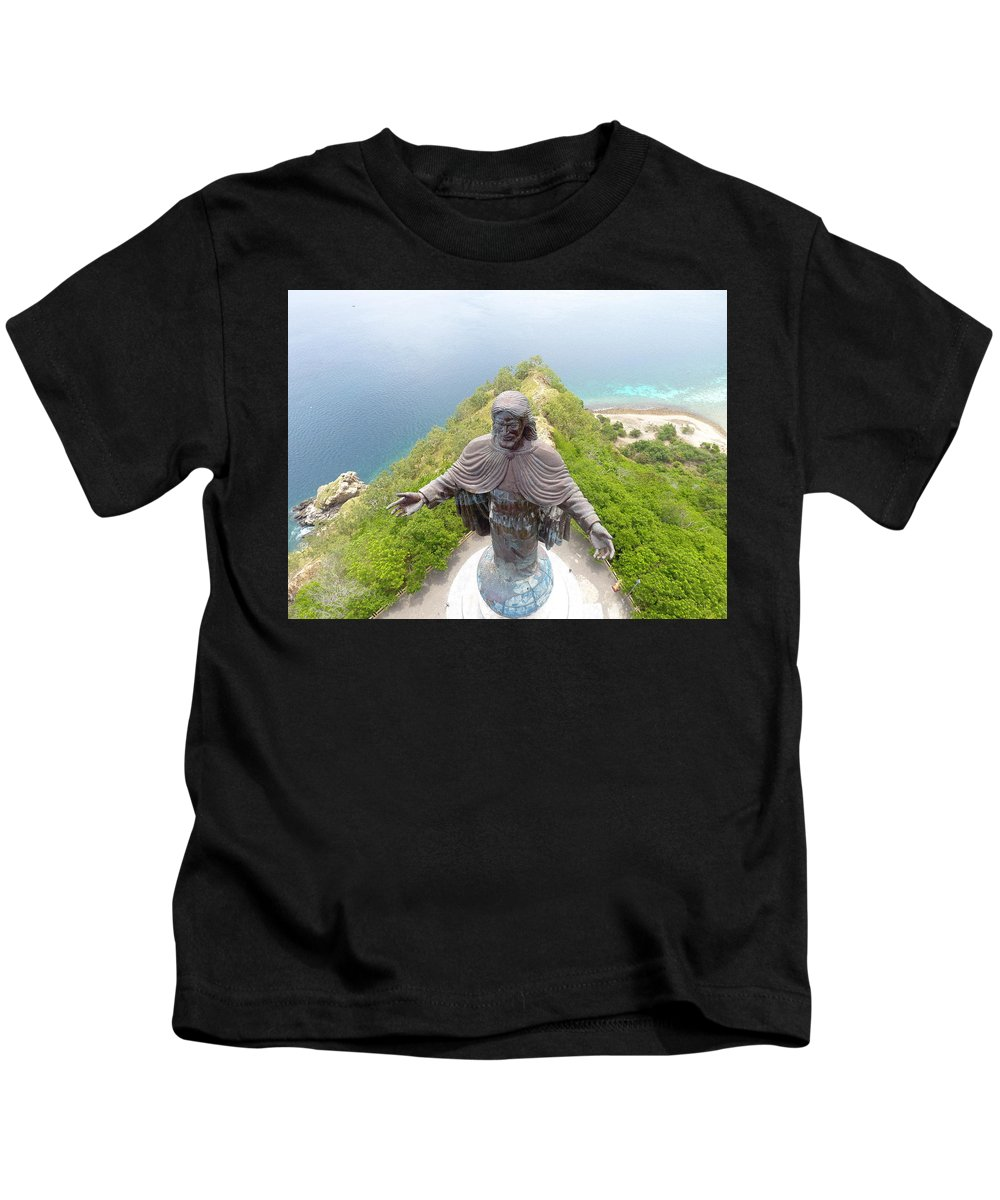 Adventure Kids T-Shirt featuring the photograph Cristo Rei of Dili statue of Jesus by Brthrjhn2099