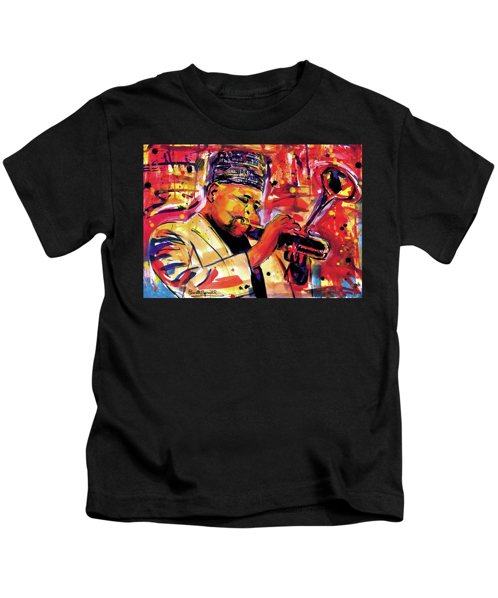 African Mask Kids T-Shirt featuring the painting Dizzy Gillespie by Everett Spruill