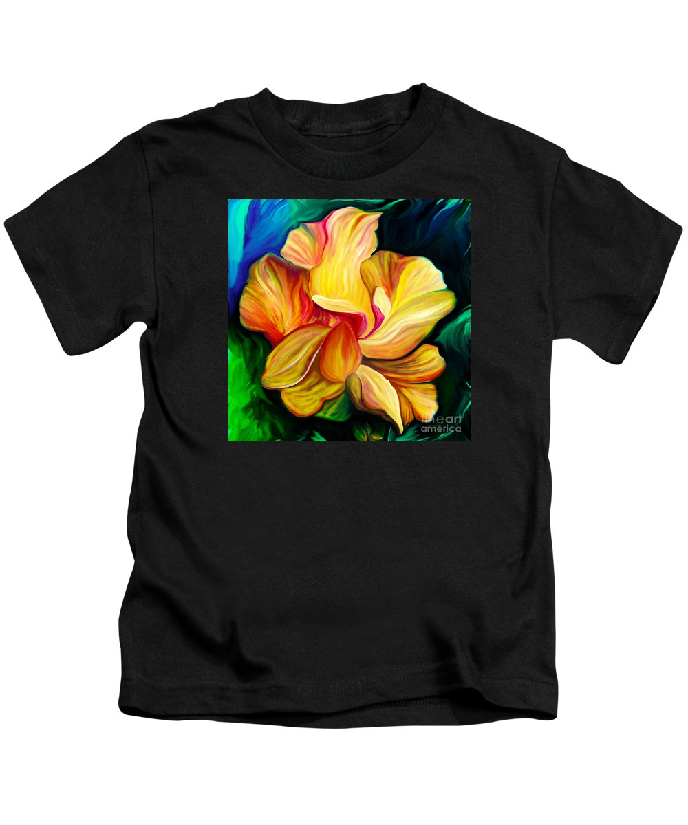Hibiscus Painting Kids T-Shirt featuring the painting Emergence II by Patricia Griffin Brett