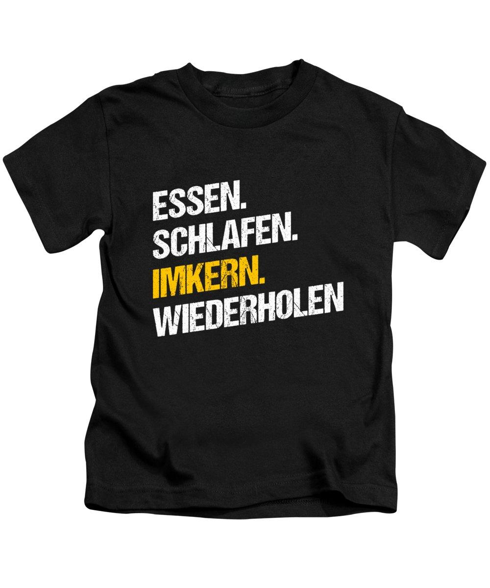 Bee Kids T-Shirt featuring the digital art Essen Schlafen Imkern Bee Beekeeper Honeycomb Gift by Thomas Larch