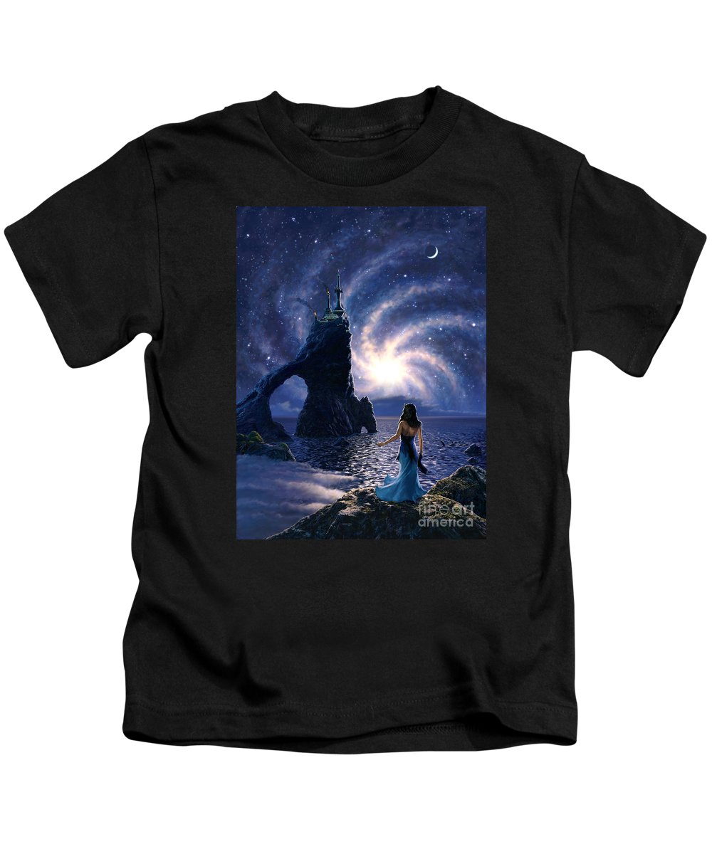 Space Kids T-Shirt featuring the painting Far Synura by Stu Shepherd