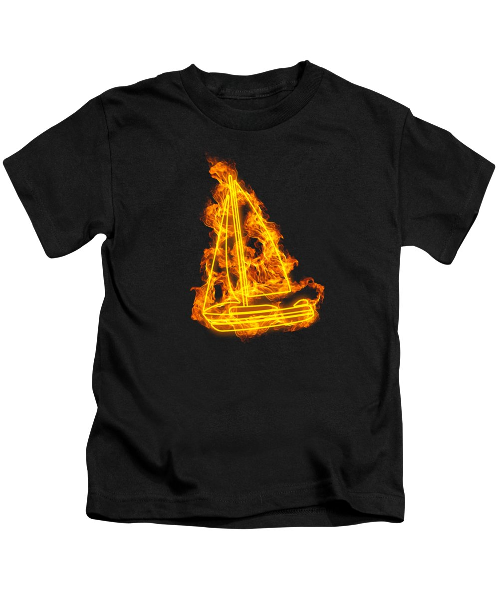 Sailing Kids T-Shirt featuring the digital art Fire Sailing Flames Boat by J M