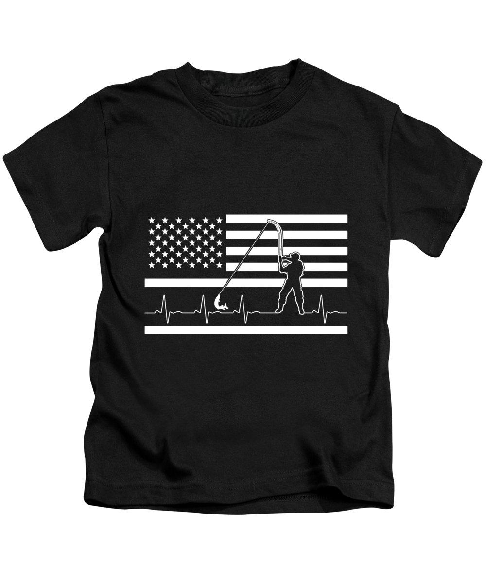 Fishing Lure Kids T-Shirt featuring the digital art Fishing American Flag Fisherman Heartbeat by Passion Loft