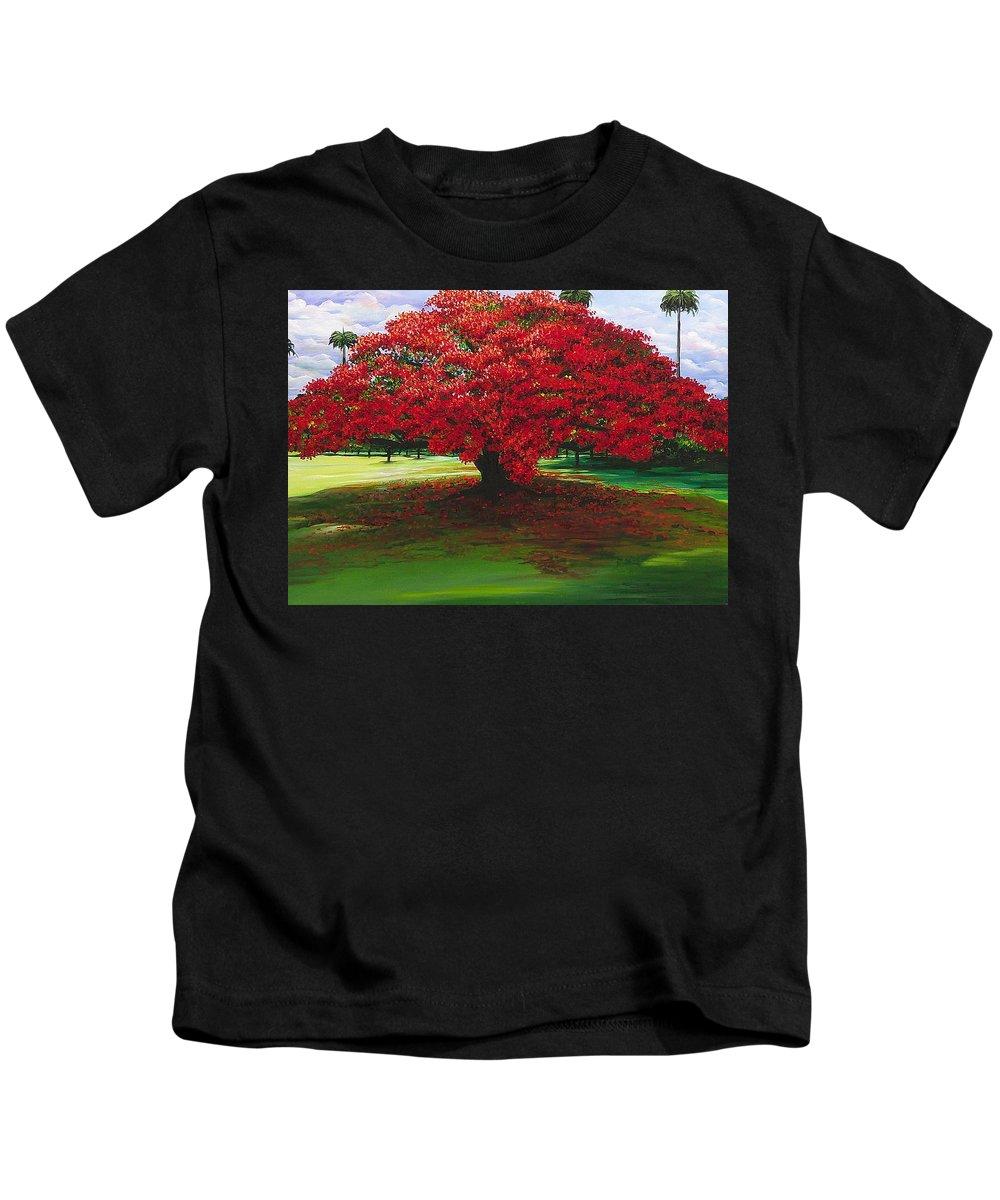Flamboyant Tree Kids T-Shirt featuring the painting Flamboyant Ablaze by Karin Dawn Kelshall- Best