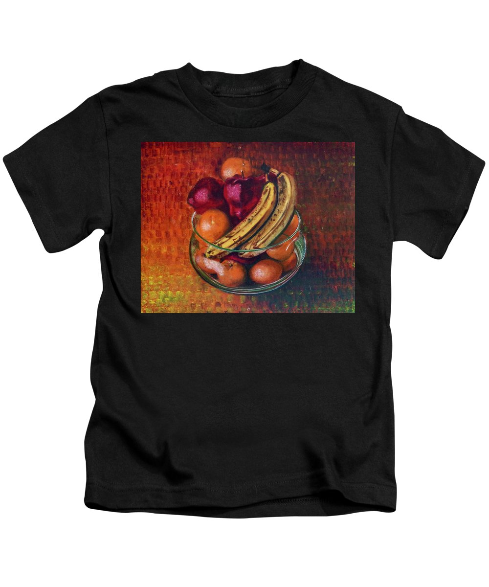 Oil Painting On Canvas Kids T-Shirt featuring the painting Glass Bowl Of Fruit by Sean Connolly