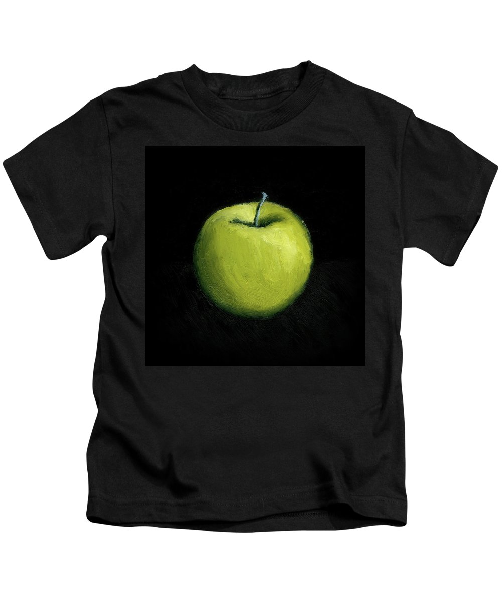 Apple Kids T-Shirt featuring the painting Green Apple Still Life by Michelle Calkins