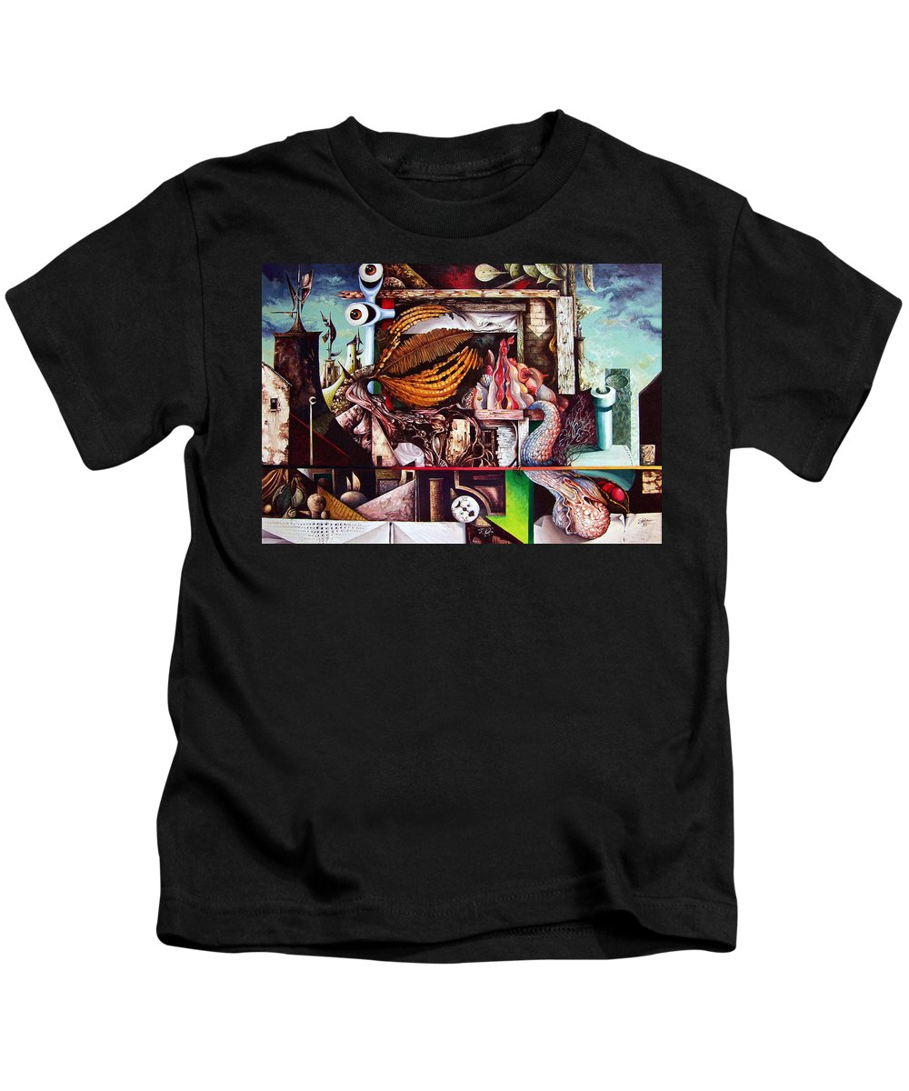 Surrealism Kids T-Shirt featuring the painting Grey Day At The Factory by Otto Rapp