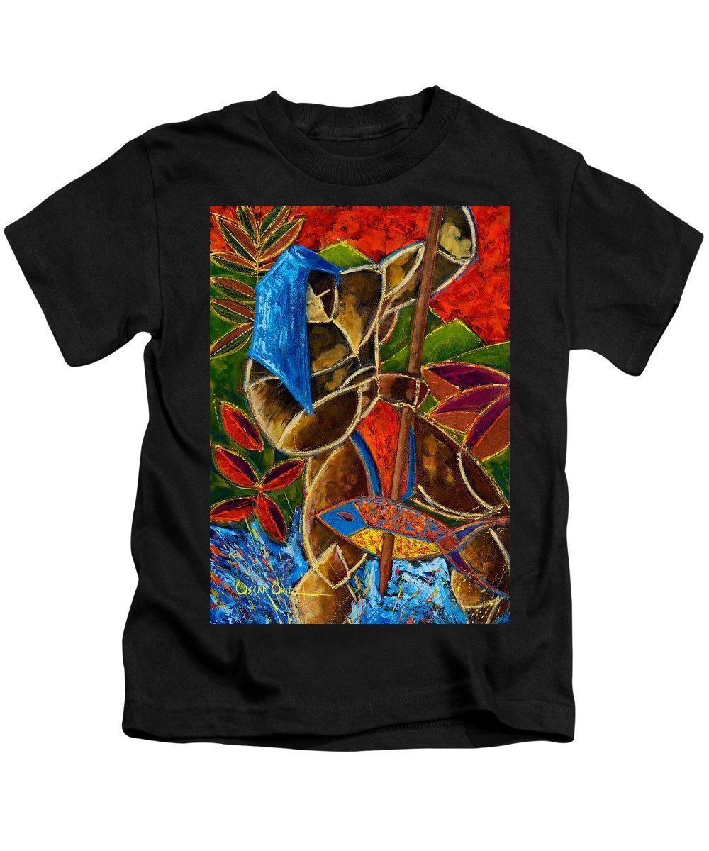 Puerto Rico Kids T-Shirt featuring the painting Guarani... hombre de familia by Oscar Ortiz