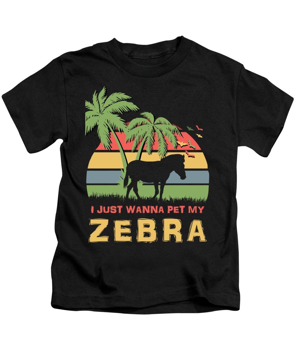 I Kids T-Shirt featuring the digital art I Just Wanna Pet My Zebra by Filip Schpindel