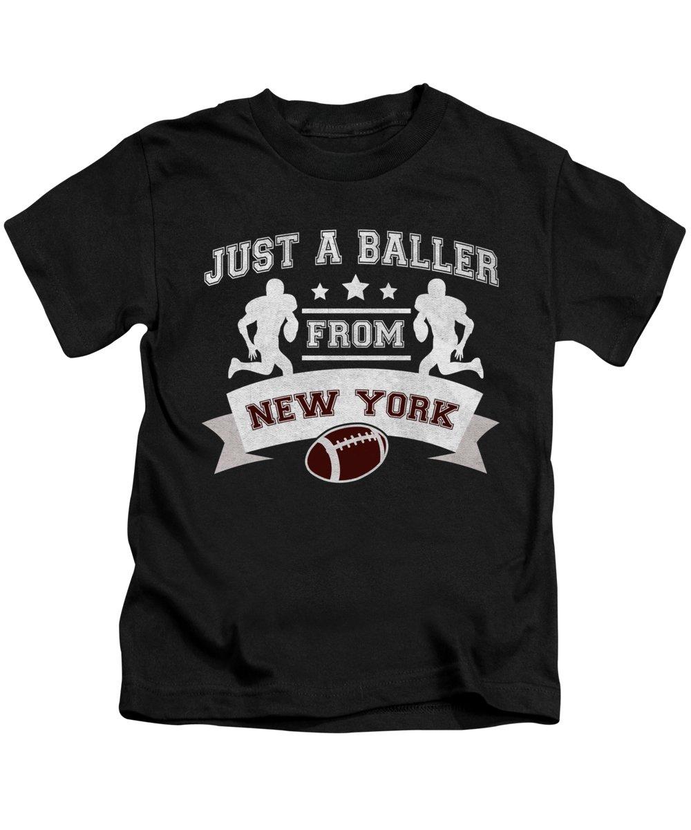 New York Football Kids T-Shirt featuring the digital art Just a Baller from New York Football Player by Jacob Zelazny