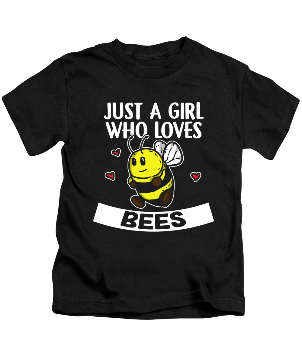 Bee Kids T-Shirt featuring the digital art Just A Girl Who Loves Bees Cute Bee Costume by J M