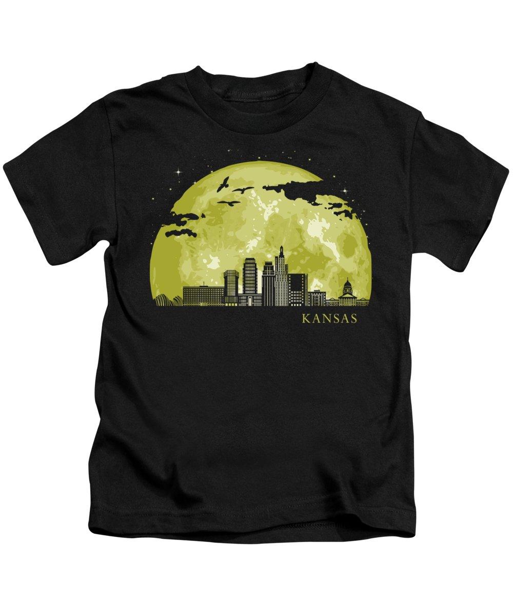 Texas Kids T-Shirt featuring the digital art KANSAS Moon Light Night Stars Skyline by Filip Schpindel
