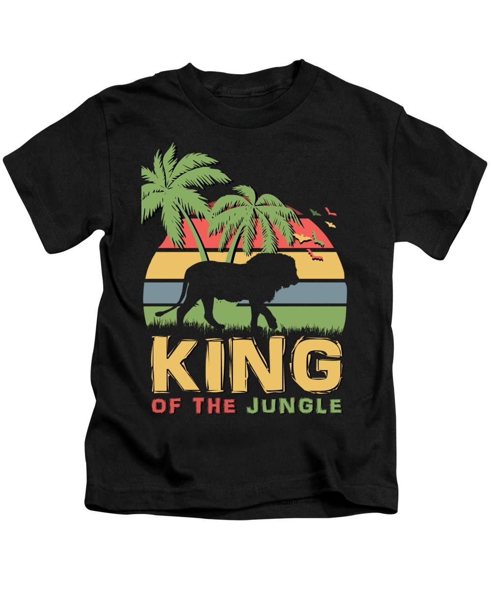 King Kids T-Shirt featuring the digital art King Of The Jungle by Filip Schpindel
