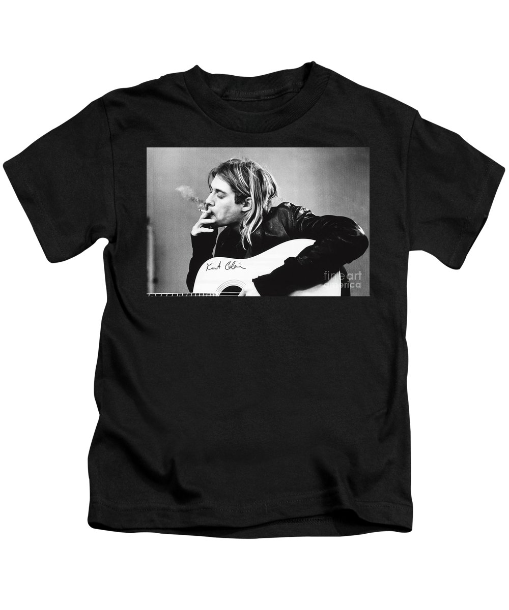 Kurt Cobain Kids T-Shirt featuring the photograph KURT COBAIN - SMOKING POSTER - 24x36 MUSIC GUITAR NIRVANA by Trindira A